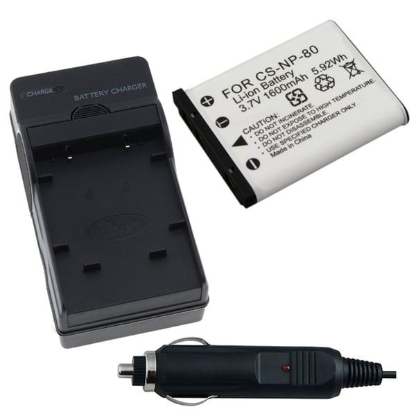 INSTEN Battery/ Charger for Casio NP-80/ EXILIM EX-S5/ EX-Z270
