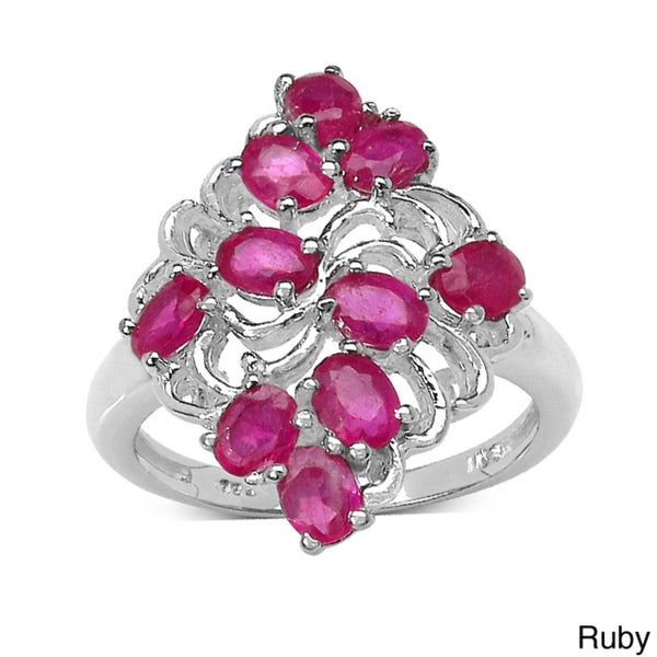 Malaika Sterling Silver 2.60ct TGW Ruby or Tanzanite Ring