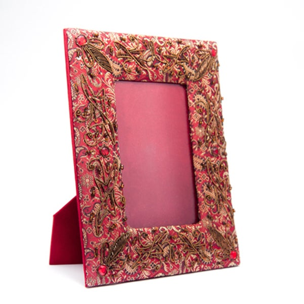 Red and Coffee Jeweled & Embroidered Photo Frame (India)