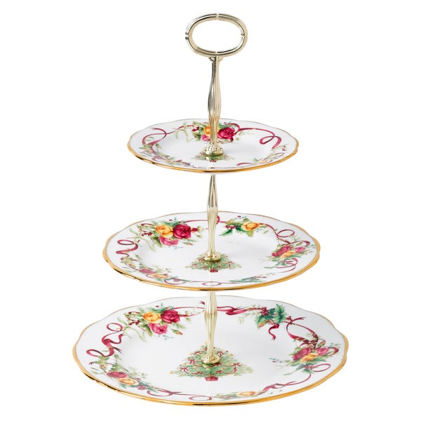 Royal Albert Old Country Roses Christmas Tree 3-Tier Cake Stand
