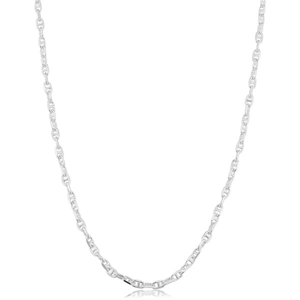 Fremada Sterling Silver 1.9mm Flat Mariner Link Chain (16-36 inch) - White
