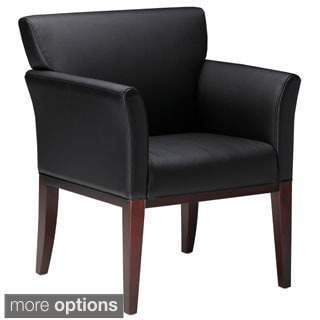 Mayline Mercado Black Leather Visitor Chair with Solid Wood Legs