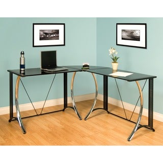 Calico Designs Monterey Black Left Side Powder-coated Steel Corner Desk