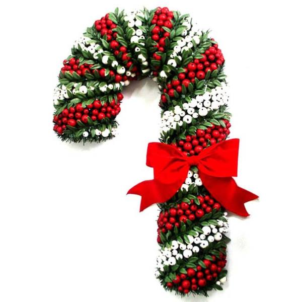 White and Red Pepper Berry Candy Cane (27-inch)