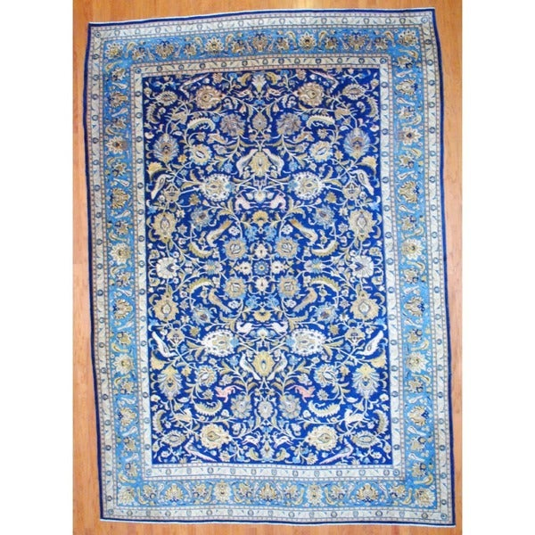 Hand Knotted Persian Isfahan Wool Area Rug: Shop Persian Hand-knotted Isfahan Navy/ Light Blue Wool
