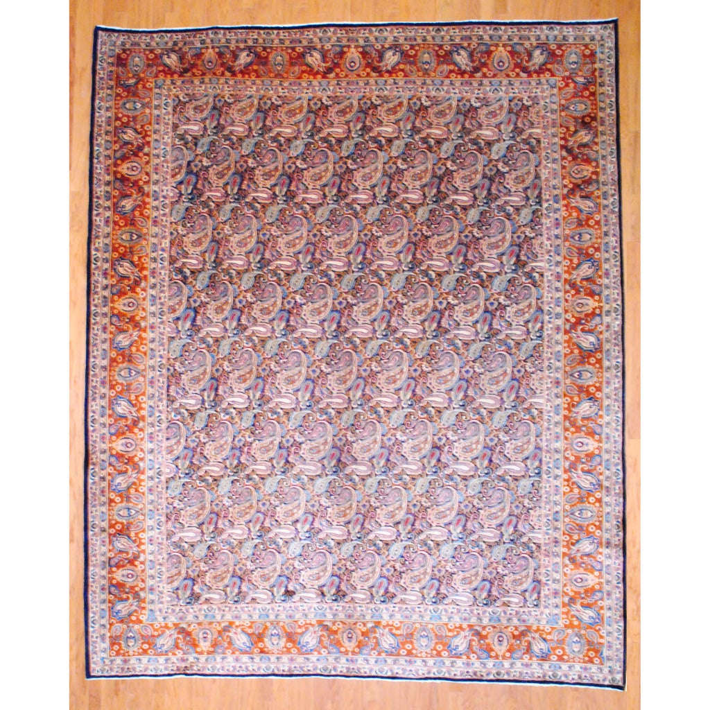 Herat Oriental Persian Hand-knotted Kashan Navy/ Rust Wool Rug (10' x 12'3)