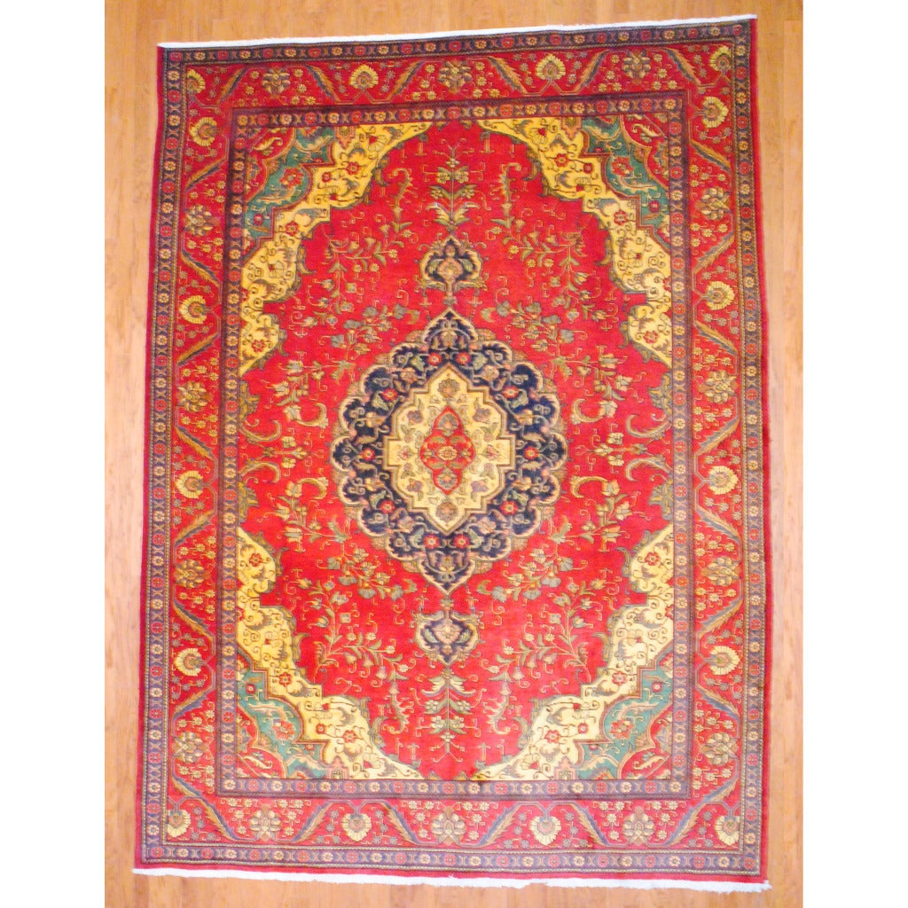 Herat Oriental Persian Hand-knotted Tabriz Red/ Ivory Wool Rug (9'5 x 13')