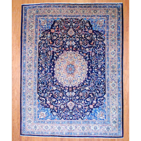 Persian Hand-knotted Mashad Navy/ Beige Wool Rug (9'10 x 12'9)