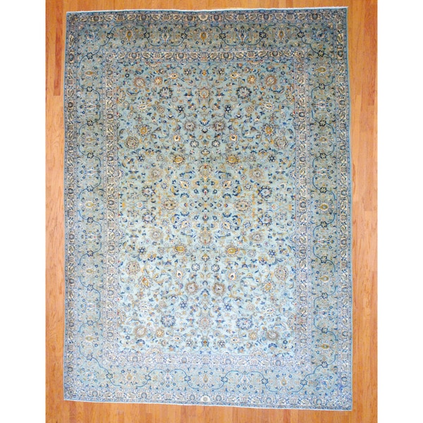 Persian Hand-knotted Kashan Light Green/ Navy Wool Rug (9'10 x 13'9)