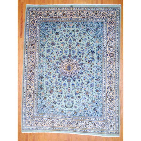Persian Hand-knotted Mashad Green/ Beige Wool Rug (9'9 x 13')