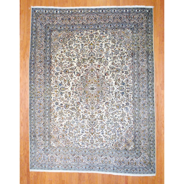 Persian Hand-knotted Mashad Ivory/ Beige Wool Rug (9'7 x 12'6)