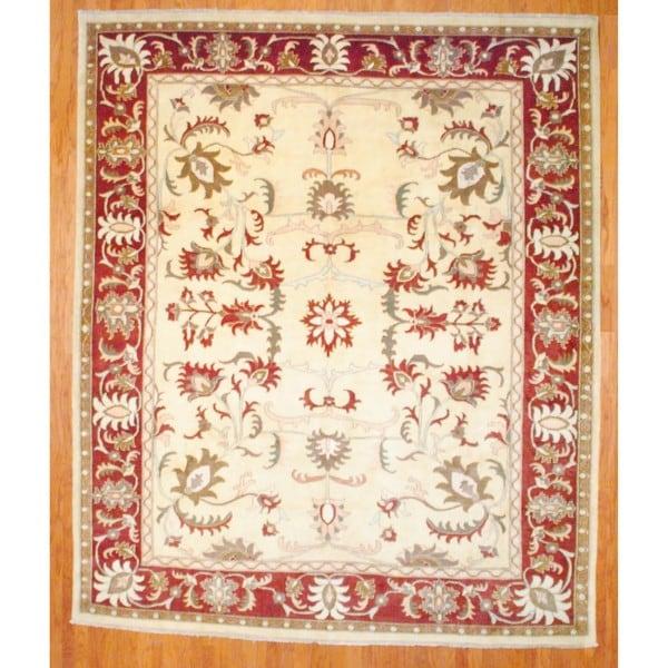 Afghan Hand-knotted Vegetable Dye Ivory/ Burgundy Wool Rug (10' x 11'9)