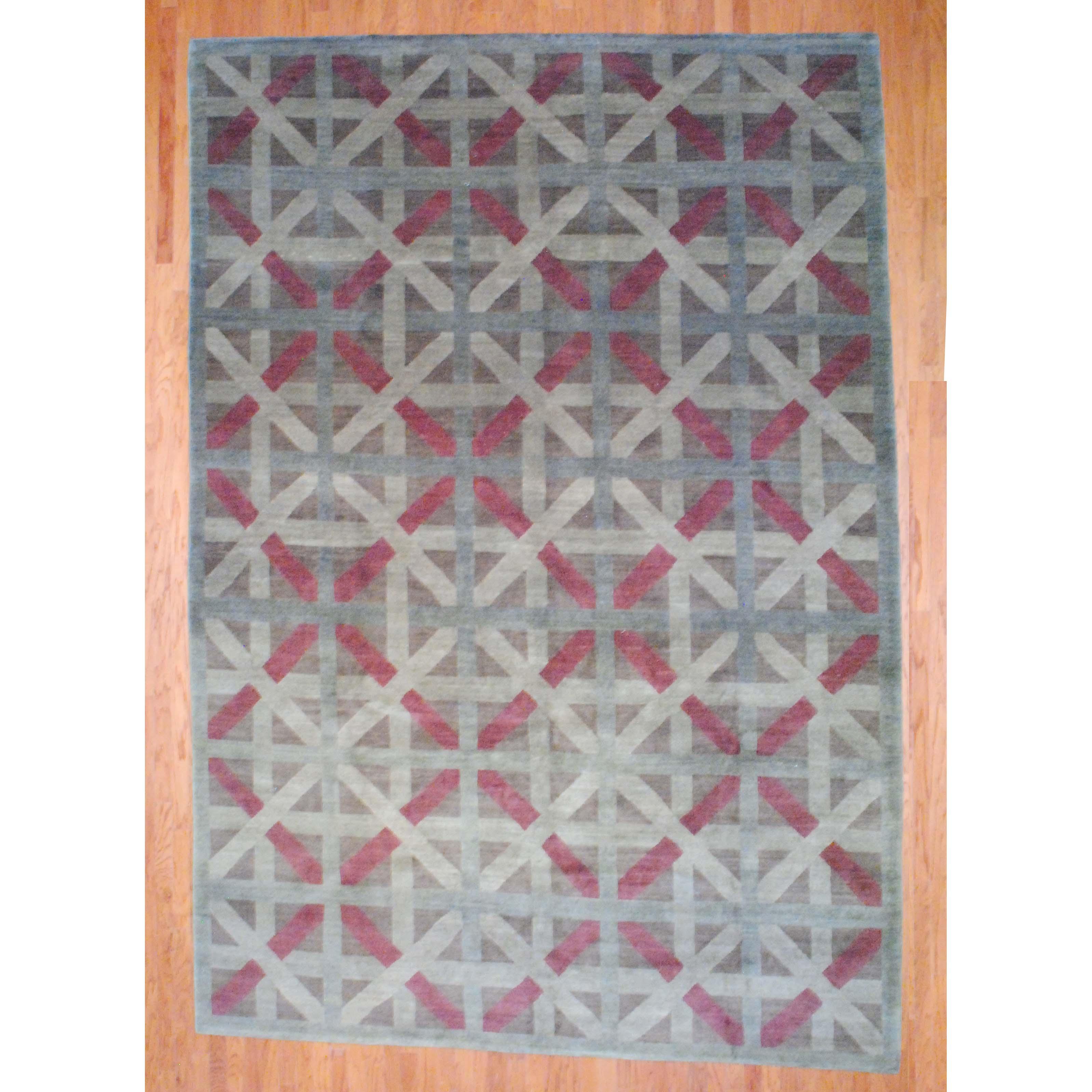 Herat Oriental Tibetan Hand-knotted Green/ Burgundy Wool Rug (10' x 14'4)