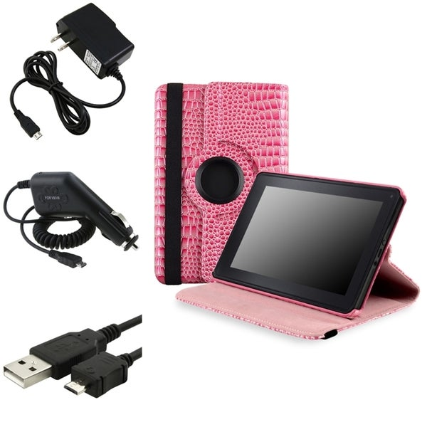 BasAcc Pink Case/ Chargers/ Cable for Amazon Kindle Fire