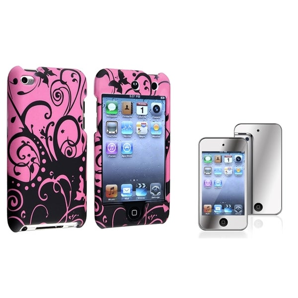 INSTEN Rubber iPod Case Cover/ Screen Protector for Apple iPod Touch Generation 4