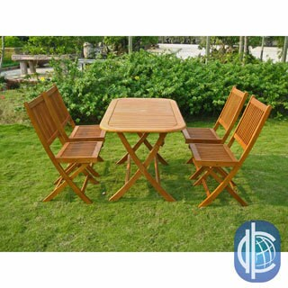 International Caravan Royal Tahiti Melilla 5 Piece Folding Outdoor Dining  Set