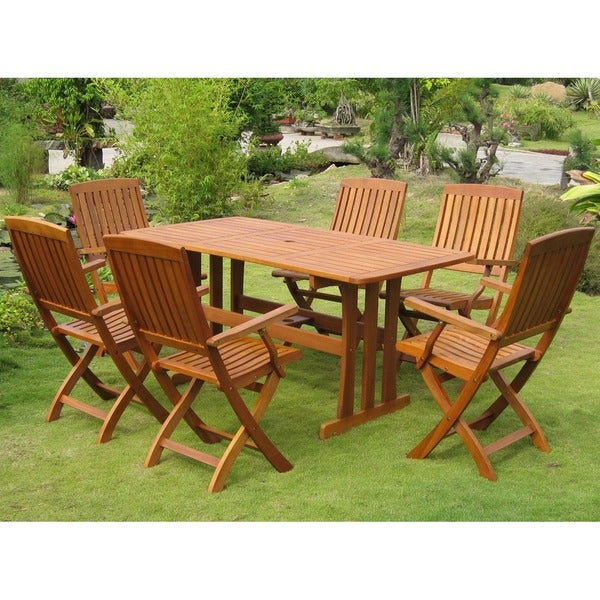 International Caravan Royal Tahiti Merida 7 Piece Outdoor Dining Set