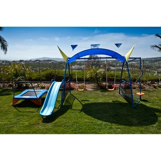 Ironkids Premier 300 Metal Swing Set with Trampoline, Spinner and Protective Sunshade