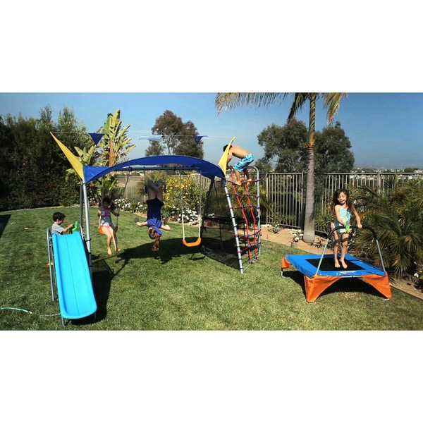 Ironkids Premier 550 Fitness Playground Swing Set with Rope Climb and Refreshing Mist