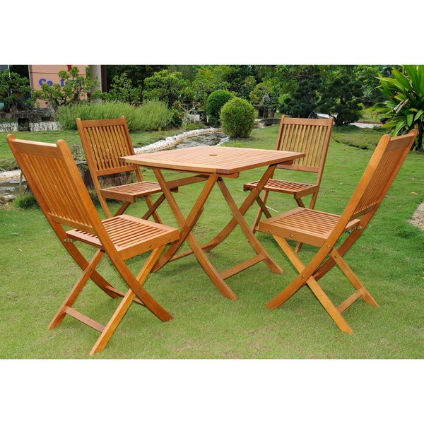 International Caravan Royal Tahiti 5-piece Folding Outdoor Dining Set