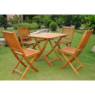 Positano Outdoor Acacia Wood 5 piece Folding Dining Set by