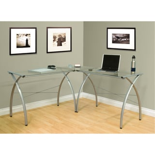 Calico Designs Jameson Silver/ Clear Glass L-shaped Computer Work Center
