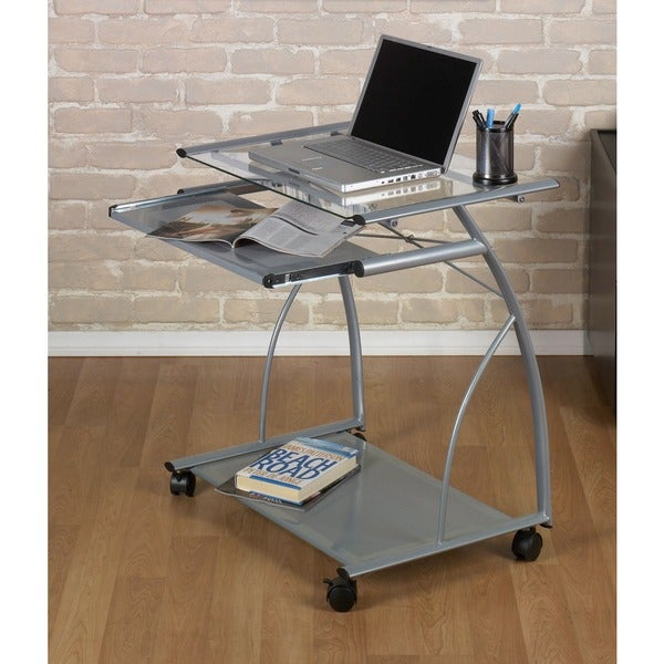 Calico Designs Silver/ Clear Glass L Cart