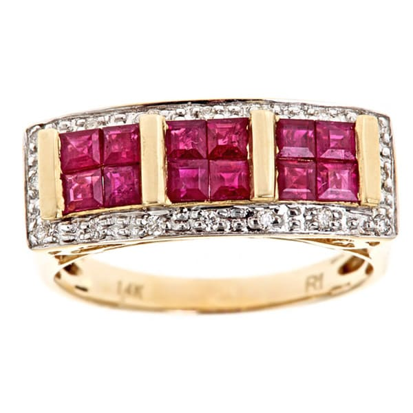 D'Yach 14k Yellow Gold Ruby and 1/10ct TDW Diamond Ring (G-H, I1-I2)