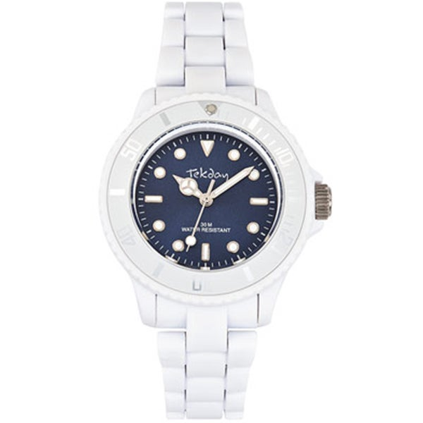 Tekday Children's Blue Sunray Dial White Plastic Strap Sport Watch