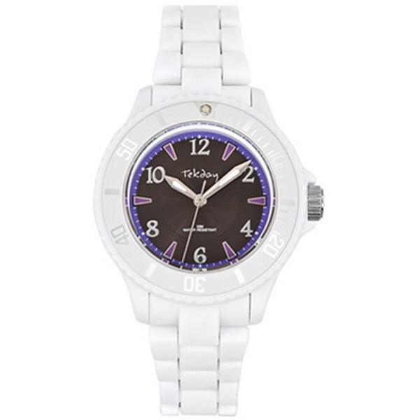Tekday Children's Grey Dial White Plastic Strap Sport Watch