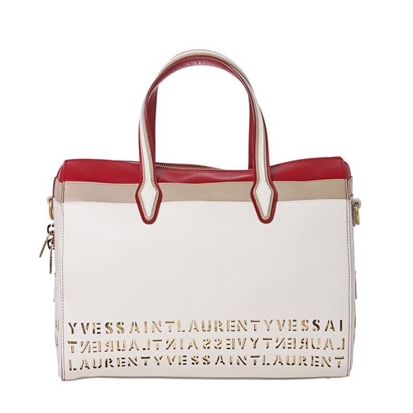Yves Saint Laurent White Leather Stencil Cut-out Bowler Handbag