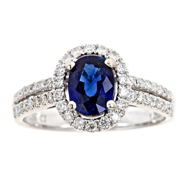D'yach 18k Gold Sapphire and 1/2ct TDW Diamond Ring (G-H, I1-I2)