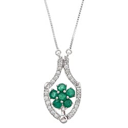 Anika and August 14k Gold Emerald and 1/6ct TDW Diamond Necklace (G-H, I1-I2)