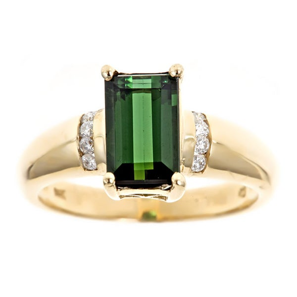D'yach 14k Gold Green Tourmaline and 1/8ct TDW Diamond Ring (G-H, I1-I2)