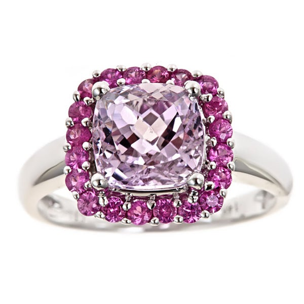 Anika and August 14k Gold Kunzite and Pink Sapphire Ring