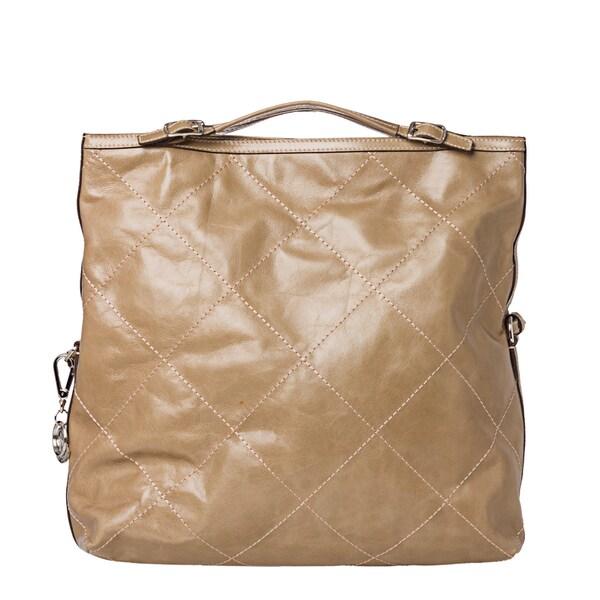 Moncler 'Aurelie' Olive Stitched Leather Tote Bag