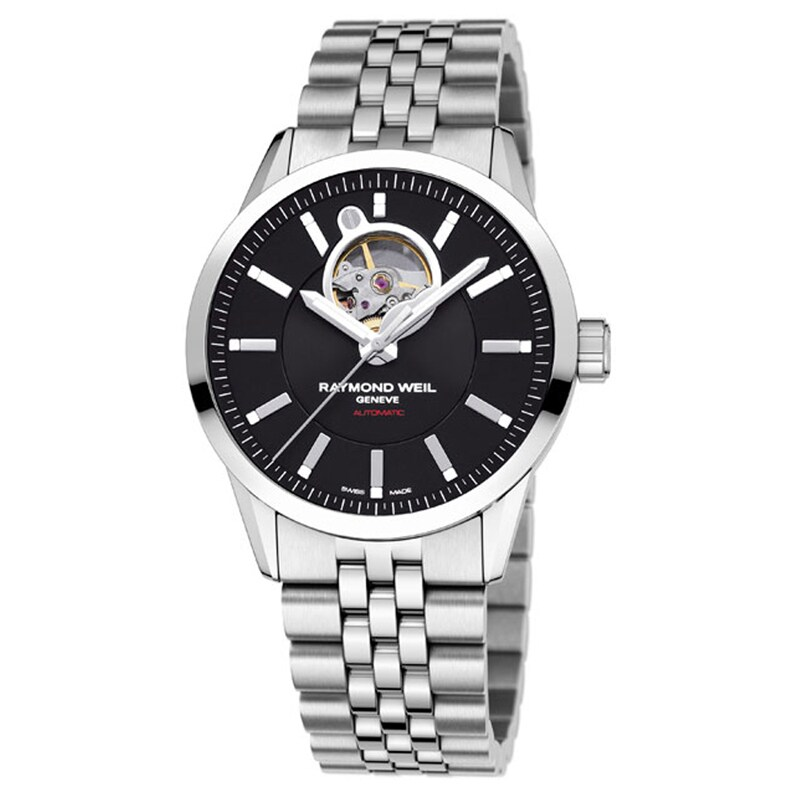 Raymond Weil Men's 'Freelancer' Black Dial Steel Watch (R...