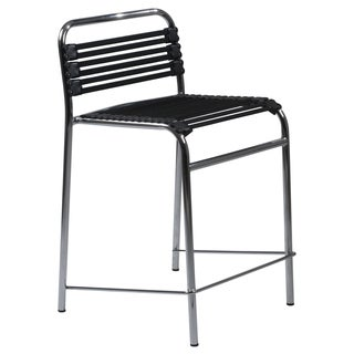 "Bungie 24"" Black/Chrome Counter Stool, Set of 4"