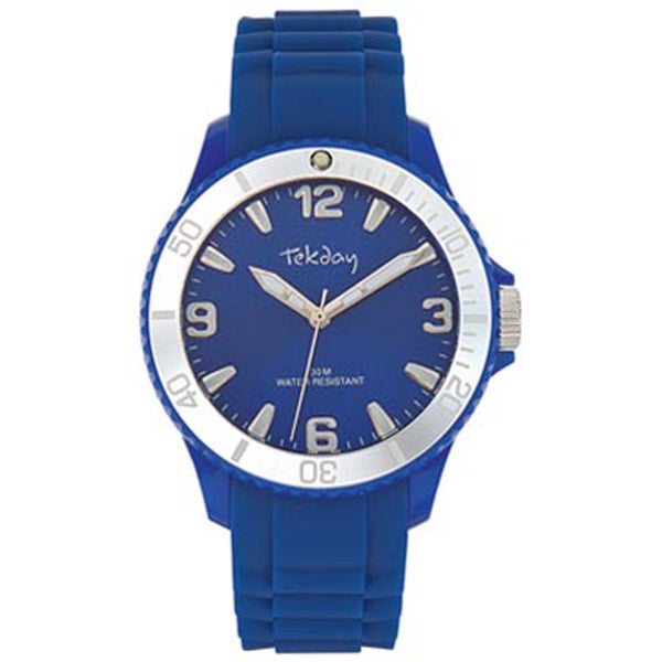 Tekday Men's Blue Dial Silicone Strap Sport Watch