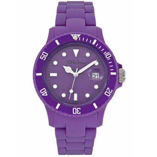 Tekday Men's Dark Purple Dial Plastic Strap Date Watch