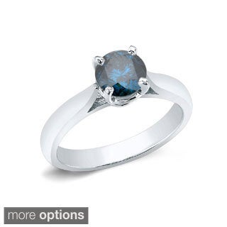 Auriya 14k Gold 1ct TDW Round-cut Blue Diamond Solitaire Engagement Ring