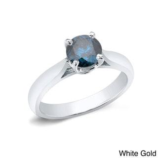 Auriya 14k Gold 1ct TDW Round-cut Blue Diamond Solitaire Ring