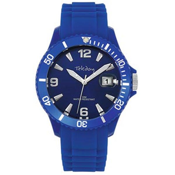 Tekday Men's Dark Blue Plastic Silicone Strap Date Watch
