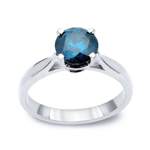 Auriya 14k Gold 1/2ct TDW Round Blue Solitaire Diamond Engagement Ring