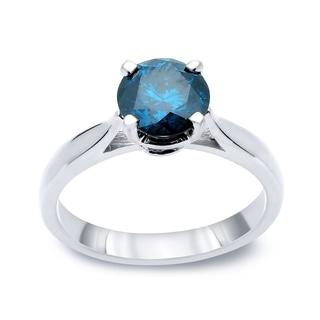 Auriya 14k Gold 1/2ct TDW Round-cut Blue Diamond Solitaire Ring