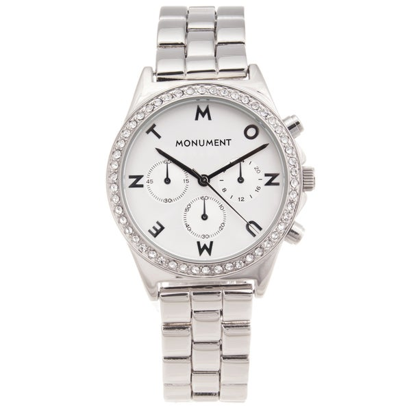 Monument Women's Silver-tone Signature Glitz Watch