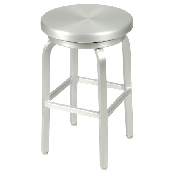 Bon Miller 24 Inch Matte Aluminum Counter Swivel Stool