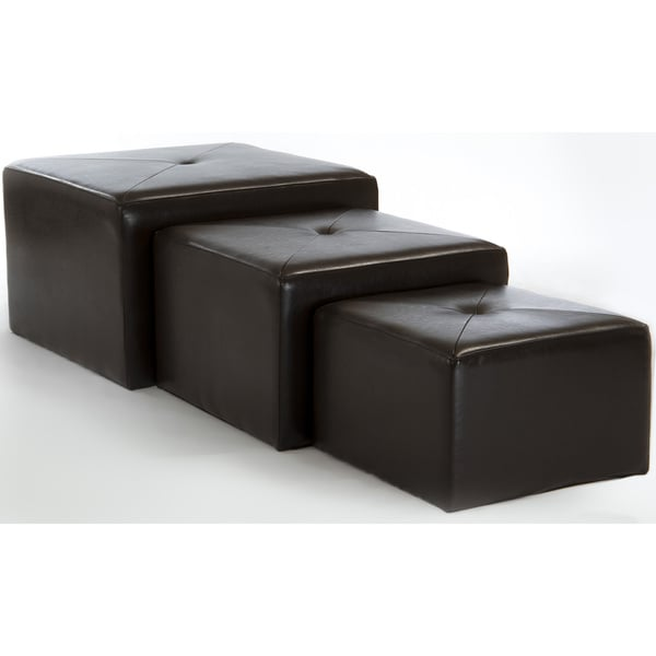 Juniper Brown Bonded Leather Nested Ottomans (Set of 3) by Christopher Knight Home