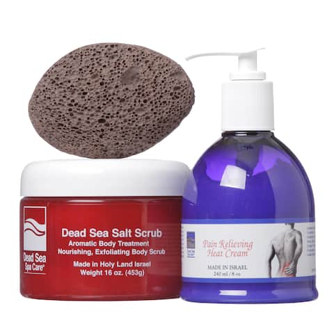 Dead Sea Spa Care 16 oz. Salt Scrub, 8 oz. Pain Relieving Heat Cream, and Pumice Stone 3-piece Pain Relieving Skin Care Set