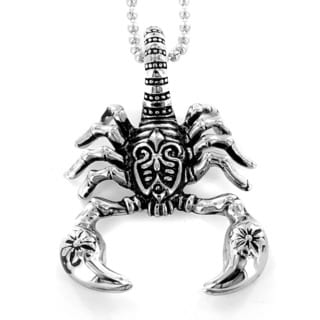 Stainless Steel Antiqued Tribal Scorpion Necklace Free